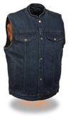 Men's Motorcycle Snap Front Denim Club Style Vest W/ Gun Pocket - Divine Leather USA - 3