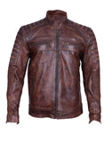 Men's Motorcycle Biker Cafe Racer Vintage Motorcycle Distressed Brown Leather Jacket W/inside Pockets