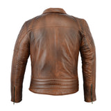 Men's Distressed Brown Classic Diamond Motorcycle Vintage Leather Jacket - Divine Leather USA - 2