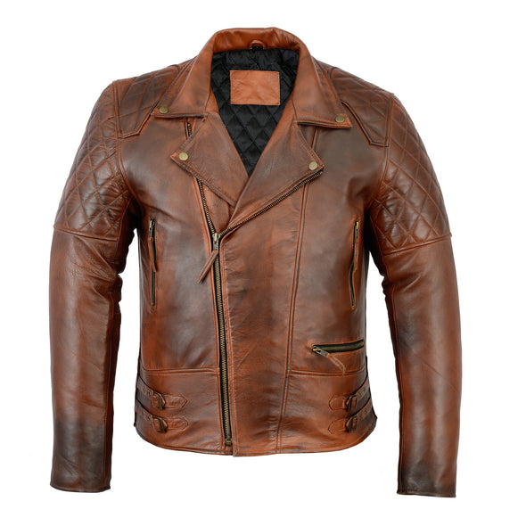 Men's Distressed Brown Classic Diamond Motorcycle Vintage Leather Jacket - Divine Leather USA - 1