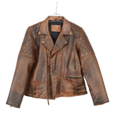 Men's Distressed Brown Classic Diamond Motorcycle Vintage Leather Jacket - Divine Leather USA - 5