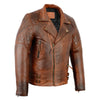 Men's Distressed Brown Classic Diamond Motorcycle Vintage Leather Jacket - Divine Leather USA - 3