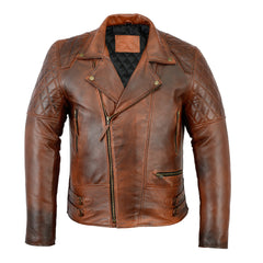 Men's Distressed Brown Classic Diamond Motorcycle Vintage Leather Jacket