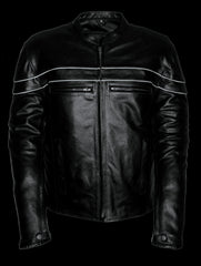 Men's Motorcycle Genuine Leather Sporty Crossover Jacket W/ Gun Pocket