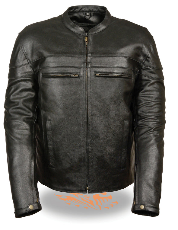 Men's Motorcycle Genuine Leather Sporty Crossover Jacket W/ Gun Pocket - Divine Leather USA - 1