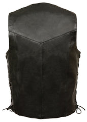 Men's Classic Side Lace Motorcycle Biker Leather Vest  w/ Snap Front