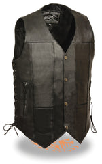 Men's Side Lace Motorcycle Biker Leather 10 Pocket Vest with inside Gun Pockets