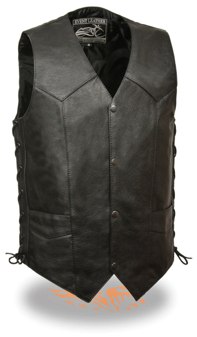 Men's Side Lace Biker Vest with Pocket - Divine Leather USA - 1