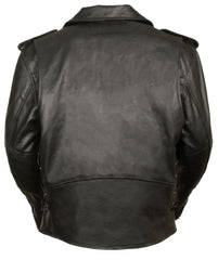 Men's Classic M/C Style Leather Side Lace Motorcycle Jacket W/ Half Belt, Side L