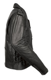 Men's Classic M/C Style Leather Side Lace Motorcycle Jacket W/ Half Belt, Side L - Divine Leather USA - 3