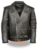 Men's Classic M/C Style Leather Side Lace Motorcycle Jacket W/ Half Belt, Side L - Divine Leather USA - 1
