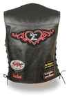 Ladies Pre-Patched Side Lace Black Leather Vest - 9 Assorted Patches - Divine Leather USA - 2