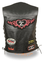 Ladies Pre-Patched Side Lace Black Leather Vest - 9 Assorted Patches