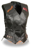 Ladies Pre-Patched Side Lace Black Leather Vest - 9 Assorted Patches - Divine Leather USA - 1