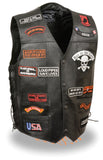 Men's Side Lace Pre-Patched Motorcycle Leather Vest - Divine Leather USA - 1