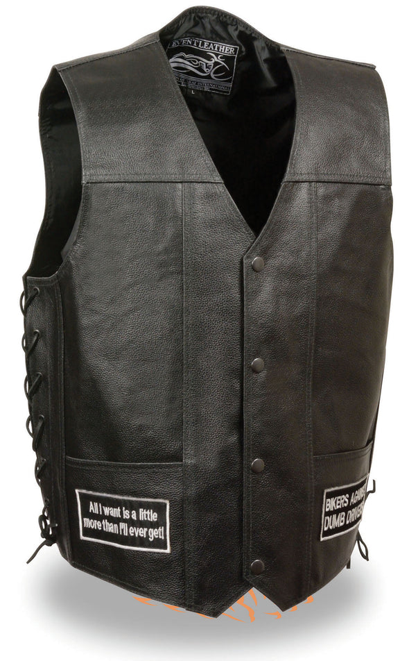 Men's Side Lace Eagle& Flag Pre-Patched Biker Vest - Divine Leather USA - 1