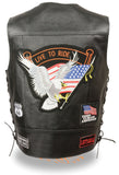 "Men's Side Lace ""Live to Ride"" Pre-Patched Motorcycle Leather Vest - Divine Leather USA - 2"