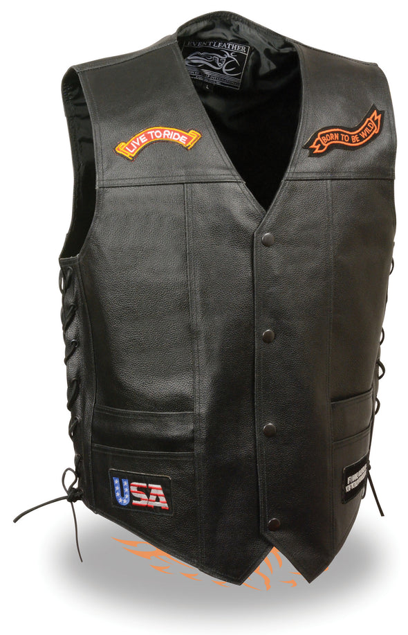 "Men's Side Lace ""Live to Ride"" Pre-Patched Motorcycle Leather Vest - Divine Leather USA - 1"