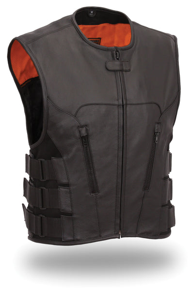 Men's Updated SWAT Team Style Motorcycle Biker Soft Cow Leather Vest