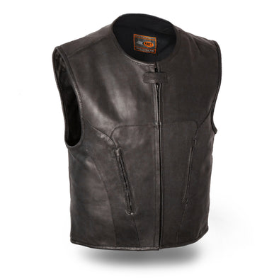 Mn's Perforated Leather Club Vest W/ Single Panel Back