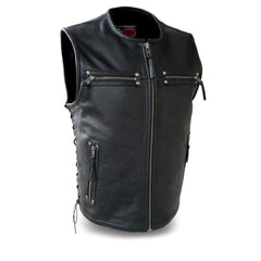 Men's Motorcycle Biker Club Soft Cow Leather Vest W/ Front Zipper and Gun Pockets