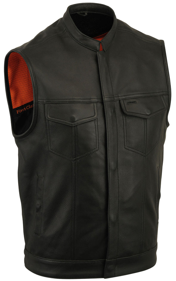 Men's SOA Motorcycle Soft Cow Hide Club Black Leather Vest With Inside Pockets