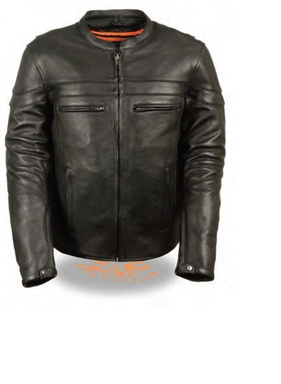 Men's Sporty Scooter Crossover Jacket - Divine Leather USA - 1