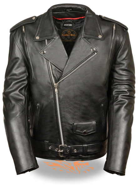 Men's Vented Motorcycle Leather Jacket W/ Side Lace Zip out Liner and Gun Pocket