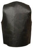 Mens Leather Vest w/ Dual Inside Gun Pockets, 1 Panel Back for Club Patches - Divine Leather USA - 3