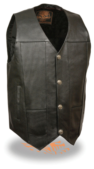 Mens Leather Vest w/ Dual Inside Gun Pockets, 1 Panel Back for Club Patches - Divine Leather USA - 1