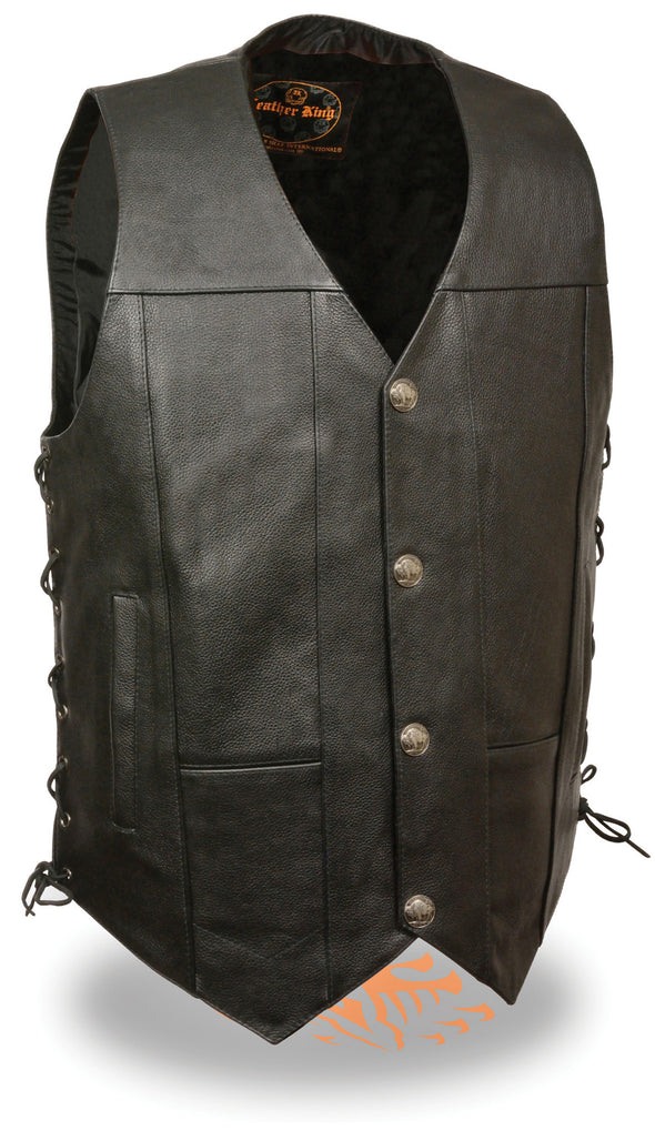 Men's Basic Motorcycle Biker Premium Leather Vest With Buffalo Snaps/Side Lace - Divine Leather USA - 1