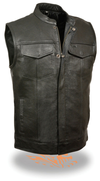 Men's Open Neck Patch Holder Vest Snap/Zip Front Club Vest - Divine Leather USA - 1