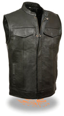 Men's SOA Style Patch Holder Premium Leather Club Vest W/ Gun & Ammo Pockets
