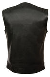 SOA Men's Concealed carry Collarless Premium Leather Biker Outlaw MC Club Vest - Divine Leather USA - 2