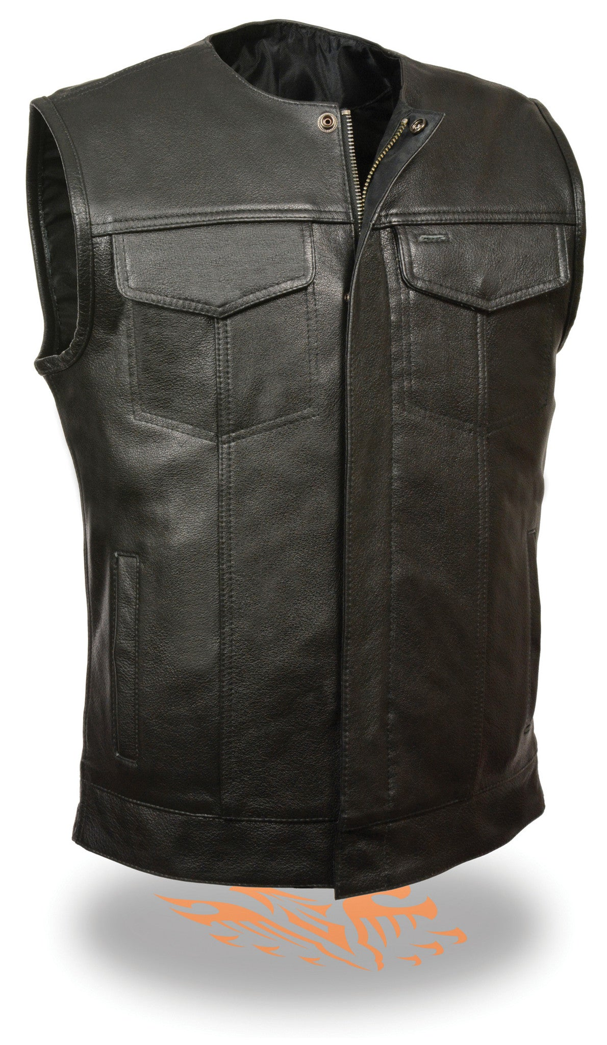 SOA Men's Concealed carry Collarless Premium Leather Biker Outlaw MC Club  Vest -