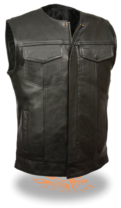 SOA Men's Concealed carry Collarless Premium Leather Biker Outlaw MC Club Vest - Divine Leather USA - 1