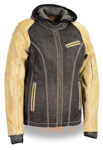 Women's Two Tone Denim & Leather Scuba Jacket W/ Full Hoodie Jacket Liner - Divine Leather USA - 1