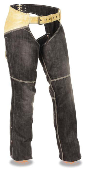 Women's Two Tone Denim & Leather Chap W/ Two Front Pockets