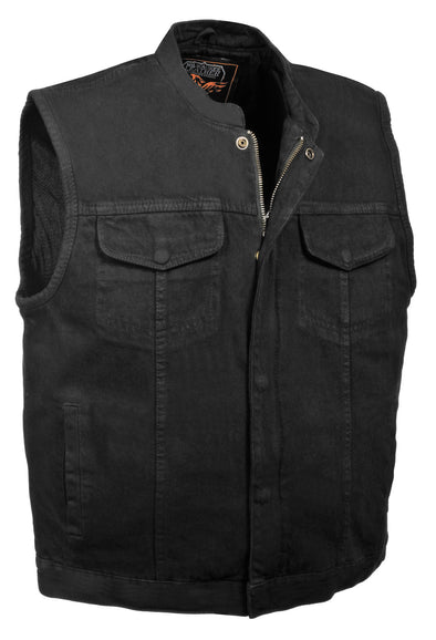 Men's Motorcycle concealed snap denim club style vest w/ hidden zipper - Divine Leather USA - 1