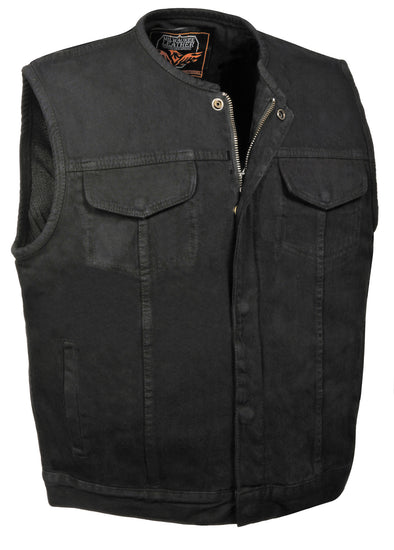 Men's SOA Denim Club Vest Black w/ Gun Pocket, Snap/ Zipper Front - Divine Leather USA - 1