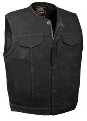 Men's SOA Denim Club Vest Black w/ Gun Pocket, Snap/ Zipper Front