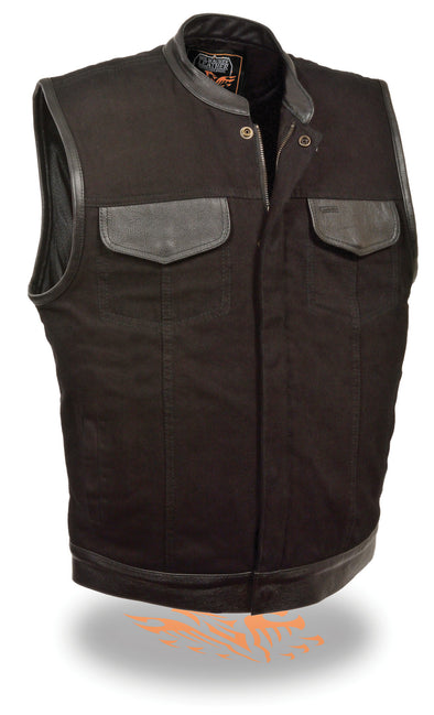 Mens SOA Biker Vest Leather Trimmed Black Denim w/ Gun Pockets Snap/Zipper Front - Divine Leather USA - 1