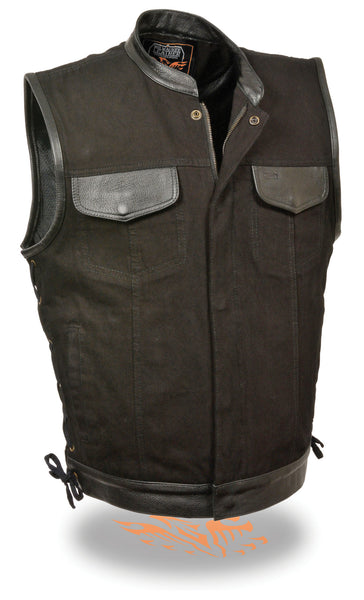 Men's Side Lace Denim Vest W/ Leather Trim & Hidden Zipper