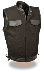 Men's Motorcycle Biker Side Lace Denim Vest W/ Leather Trim & Hidden Zipper