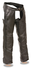 Men's Leather Chap With Vents, Reflective Pip