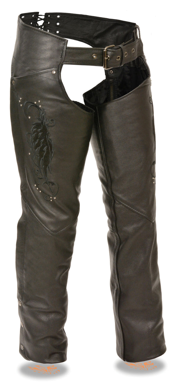 Women's Chap W/ Wing Embroidery and Rivet Detailing - Divine Leather USA - 1