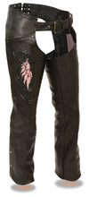 Women's Chap W/ Wing Embroidery and Rivet Detailing - Divine Leather USA - 2
