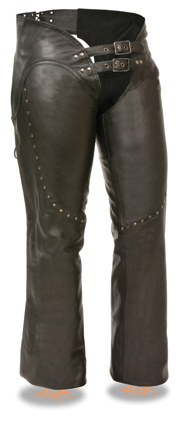 Women's Low Rise Double Buckle Chap W/ Rivet Detailing - Divine Leather USA - 1