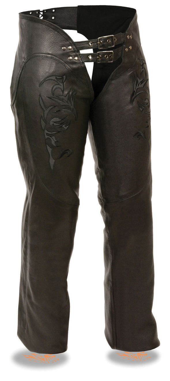 Women's Chap W/ Reflective Tribal Embroidery - Divine Leather USA - 1