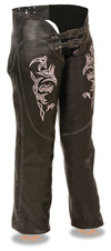 Women's Chap W/ Reflective Tribal Embroidery - Divine Leather USA - 3